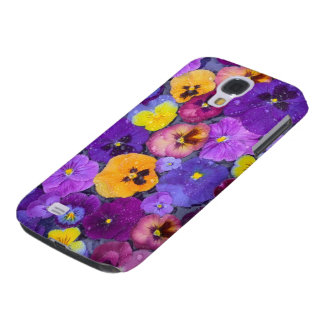 Pansy flowers floating in bird bath with dew galaxy s4 case