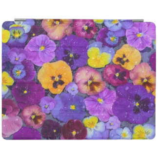 Pansy flowers floating in bird bath with dew iPad cover