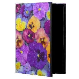 Pansy flowers floating in bird bath with dew iPad air case