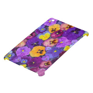 Pansy flowers floating in bird bath with dew iPad mini covers