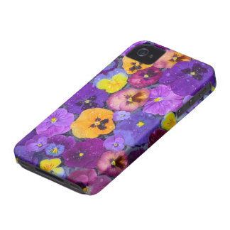 Pansy flowers floating in bird bath with dew iPhone 4 covers