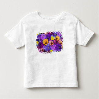 Pansy flowers floating in bird bath with dew tees