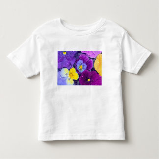 Pansy flowers floating in bird bath with dew toddler T-Shirt