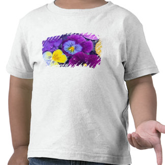 Pansy flowers floating in bird bath with dew tee shirt