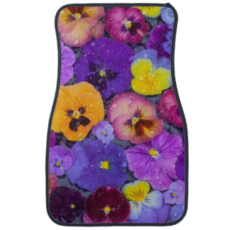 Pansy flowers floating in bird bath with dew floor mat