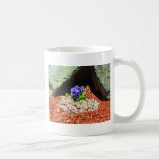 Pansy Flowers in Purple Basic White Mug