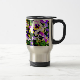 pansy flowers stainless steel travel mug