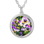 pansy flowers pendant
