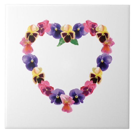 Pansy Heart Large Square Tile