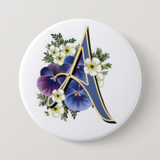 Pansy Initial  - A 7.5 Cm Round Badge