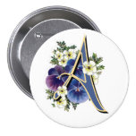 Pansy Initial  - A Pinback Button