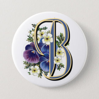 Pansy Initial  - B 7.5 Cm Round Badge