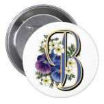 Pansy Initial  - B Pinback Buttons