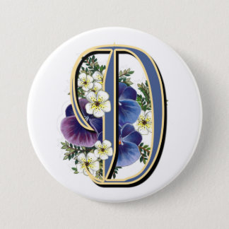 Pansy Initial  - D 7.5 Cm Round Badge