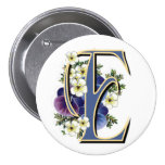 Pansy Initial  - E Pinback Buttons