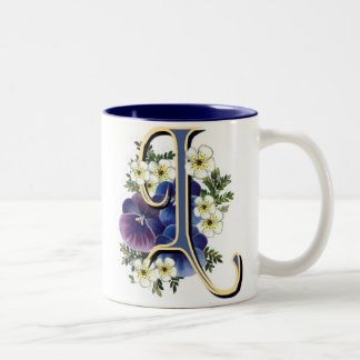 Pansy Initial - L Two-Tone Coffee Mug