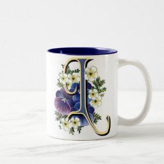 Pansy Initial - L Two-Tone Mug