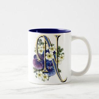 Pansy Initial - N Two-Tone Coffee Mug