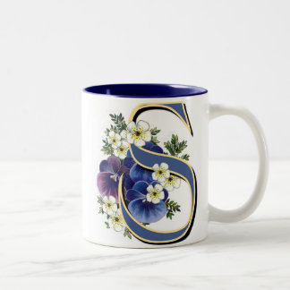 Pansy Initial - S Two-Tone Coffee Mug