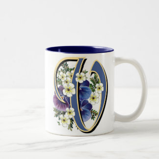 Pansy Initial - V Two-Tone Coffee Mug