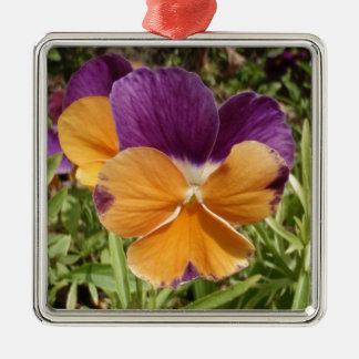 Pansy Jolly Joker Square Metal Christmas Ornament