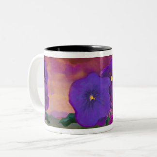 Pansy painting original flowers at sunset mural Two-Tone coffee mug