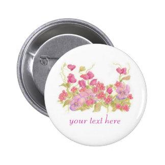 Pansy Pink Sweet Peas Flower Garden Custom Name 6 Cm Round Badge