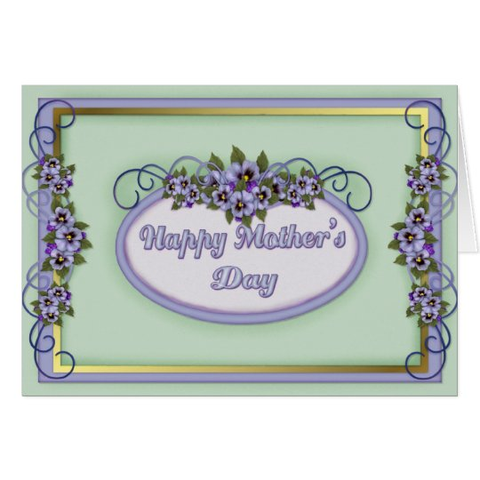 Pansy Scrolls Mother's Day Greeting Card