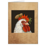 Pansy the chicken with peanut card
