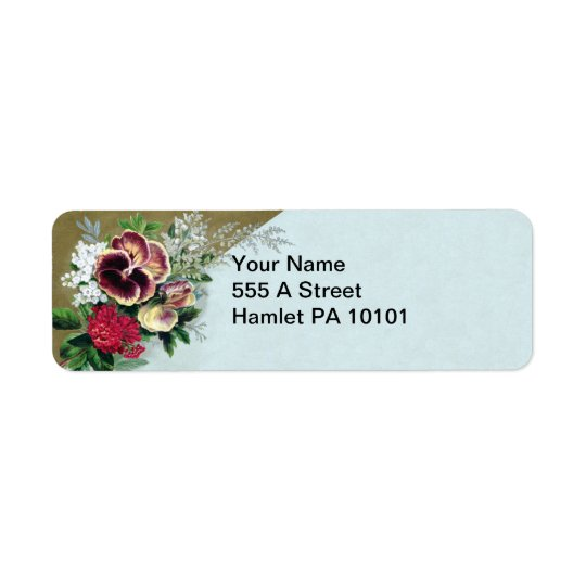 Pansy Tussie Mussie Return Address Label