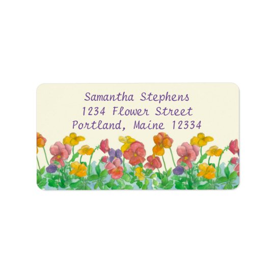 Pansy Watercolor Flowers Rainbow Colours Address Label