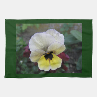 Pansy White and Yellow Kitchen Towel