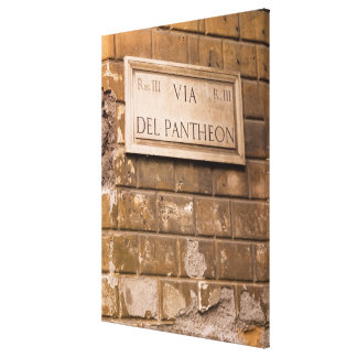 Pantheon sign, Rome, Italy 2 Canvas Print