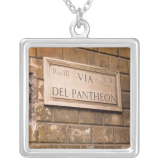 Pantheon sign, Rome, Italy 2 Silver Plated Necklace