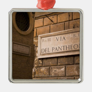 Pantheon sign, Rome, Italy Silver-Colored Square Decoration