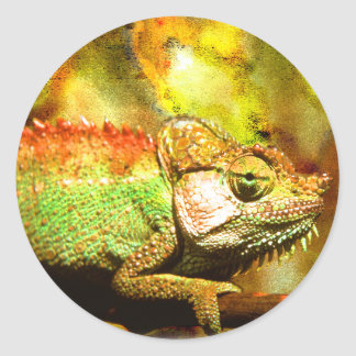 Panther chameleon Digital art Classic Round Sticker