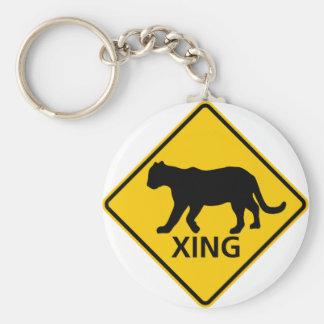 Panther Crossing Highway Sign Key Ring