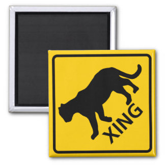 Panther Crossing Highway Sign Square Magnet
