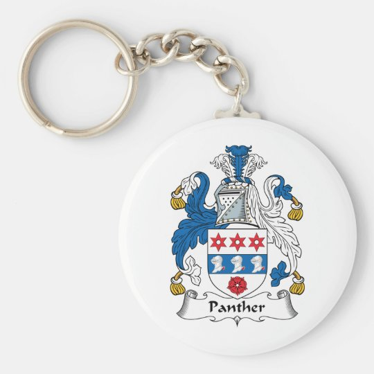 Panther Family Crest Basic Round Button Key Ring