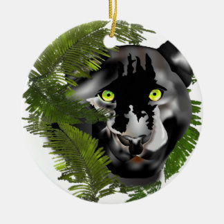 Panther in Foliage. Christmas Ornament