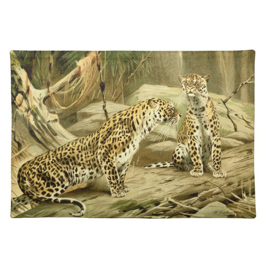 Panther Painting Leopard Wild Cat Wildlife Art Place Mats