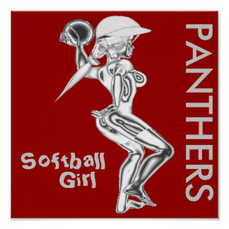 Panthers Softball Girl Poster