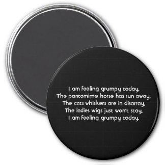Pantomime. Poem. Black White 7.5 Cm Round Magnet