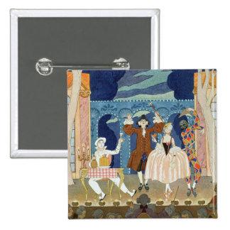 Pantomime Stage, illustration for 'Fetes Galantes' 15 Cm Square Badge