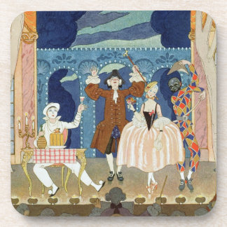 Pantomime Stage, illustration for 'Fetes Galantes' Beverage Coaster