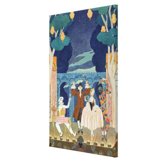 Pantomime Stage, illustration for 'Fetes Galantes' Canvas Print