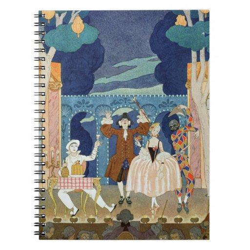 Pantomime Stage, illustration for 'Fetes Galantes' Spiral Notebook