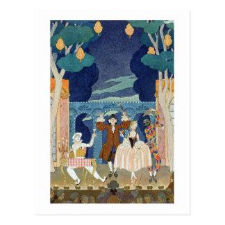 Pantomime Stage, illustration for 'Fetes Galantes' Postcards