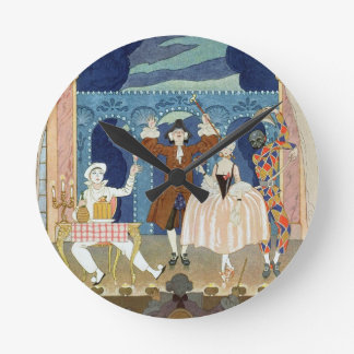 Pantomime Stage, illustration for 'Fetes Galantes' Round Clock