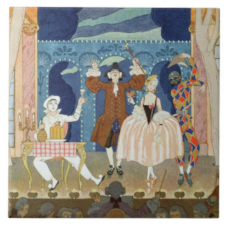 Pantomime Stage, illustration for 'Fetes Galantes' Large Square Tile